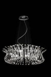 WAVE Ø 80, Lampe à suspension en verre façonné