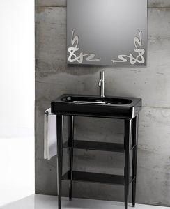 FUSION 65 DELUXE BASIN, Lavabo en céramique avec console en métal et en verre