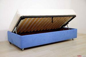 Lit simple avec conteneur sans tête de lit, Sommier lit amovible et personnalisable dans les moindres détails