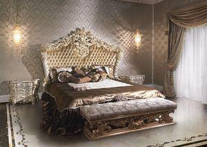 2014 lit, Lit de style classique de luxe pour les hôtels, laqué et doré
