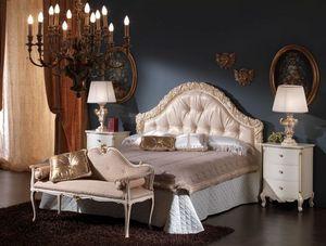 3515 LIT, Lit avec tête de lit rembourrée idéal pour les chambres classiques