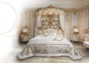 508, Lit en bois laqué blanc, Tête de lit capitonnée touffue