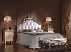 713 LIT, Luxe lit double classique avec tête de lit tuftée