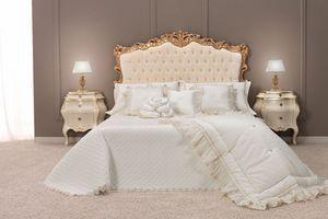 Angela lit, Lit double classique avec tête de lit rembourrée tufted finition