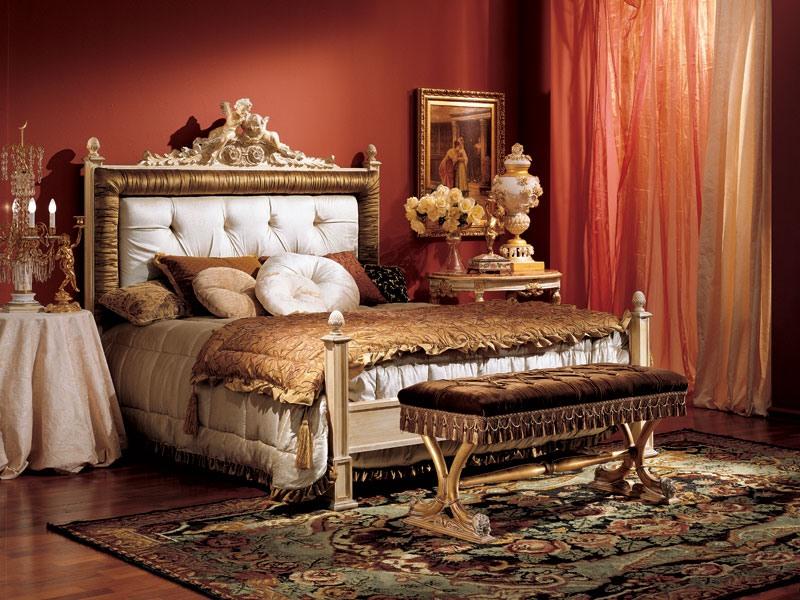 Angeli bed 846, Lit de style classique avec tête de lit rembourrée en bois