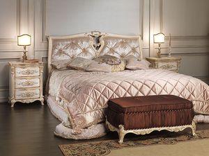 Art. 2006-IM bed, Lit en bois massif, tête de lit en soie, pour hôtel de luxe