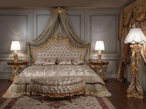 Art. 2012 Chambre, Classique lit, tête de lit en bois sculpté et doré, rembourrage capitonné