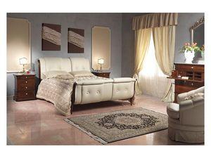 Art. 2036 bed, Lit avec tête de lit en cuir et feetboard, pour les chambres d'hôtel