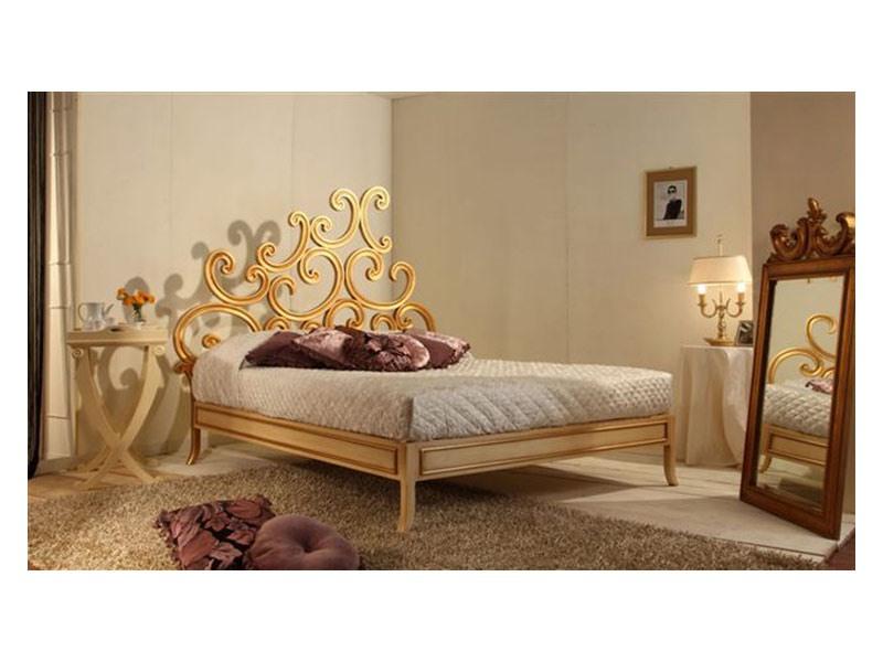 Art. 3300 Ricciolo, Chambre luxe classique, en hêtre, finition feuille d'or