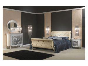 Art 610 Bed, Lit Somptueusement décoré, en cuir, pour les chambres classiques