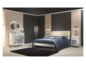 Art. 610-T Bed, Lit en bois avec finition argent, tête de lit capitonnée, pour 5 étoiles hôtel