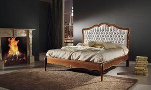 Art. 800, Lit avec tête de lit tuftée, en bois avec incrustations