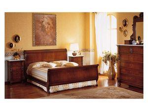 Art. 973 '800 Siciliano, Lit en bois sculptés à la main, pour une chambre double