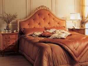Art. 986 '700 Italiano Maggiolini, Lit baroque, tête de lit en touffe, sculpté à la main la décoration