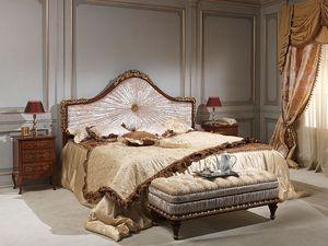 Art. 986-940 bed, Lit en bois massif, recouvert de velours, pour hôtel de luxe