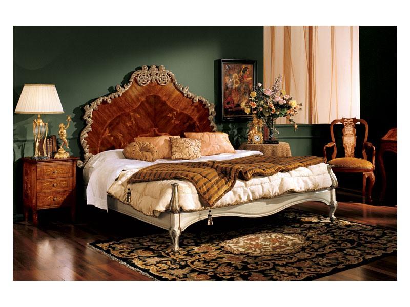 Barocco bed 796, Lit double avec tête de lit en bois marqueté, style classique
