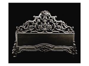 Bed art. 600, Lit de style classique avec tête de lit en bois sculpté à la main