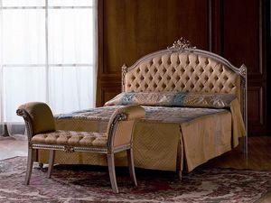 Canaletto, Matelassé lit double en bois pour chambre à coucher