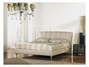Canova, Lit double en bois peint, tête de lit capitonnée