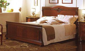 Canova lit, Lit en noyer, incrusté dans le style de luxe classique