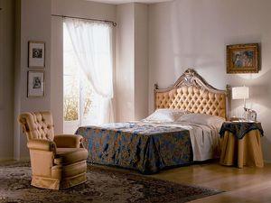 Cimabue lit, Lit sculpté, matelassé, feuille d'or, pour les chambres classiques