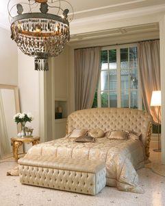 Cleos lit, Lit avec la main de la sculpture, tête de lit matelassé