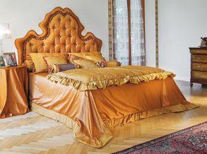 Diana, Lit double avec tête de lit en touffes, cousu main
