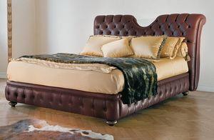 Eleanor, Lit classique avec tête de lit rembourrée et bedframe matelassé