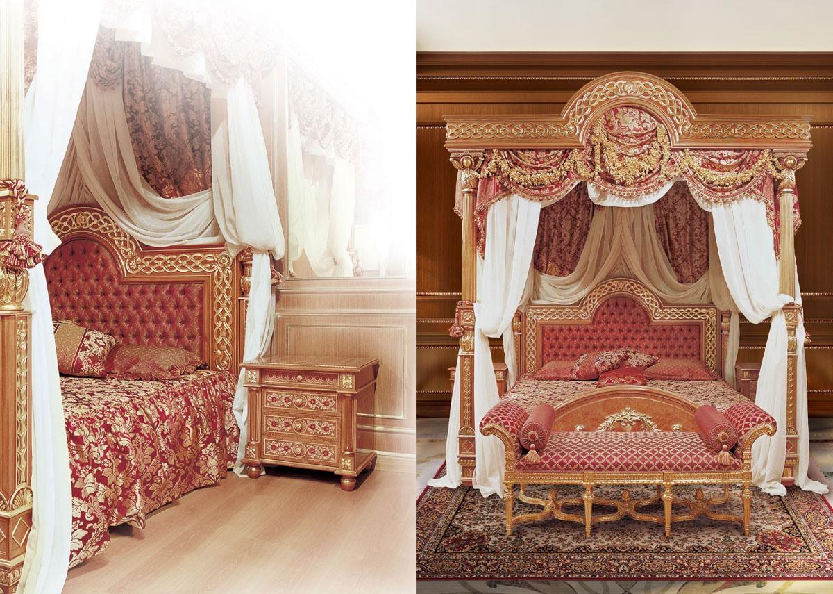 F517 Four-poster bed with Canopy, Luxueux lit à baldaquin, bois sculpté solide