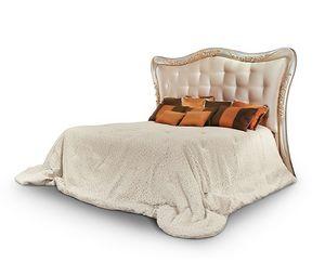 FLORE / lit, Lit avec tête de lit rembourrée et sculptée