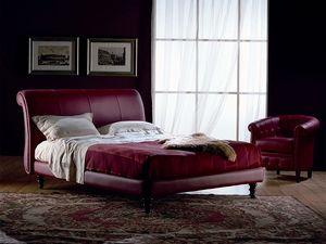 Giotto, Fini à la main lit, recouvert de cuir, pour chambre