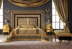 GRECALE lit, Lit avec tête de lit rembourrée luxueuse