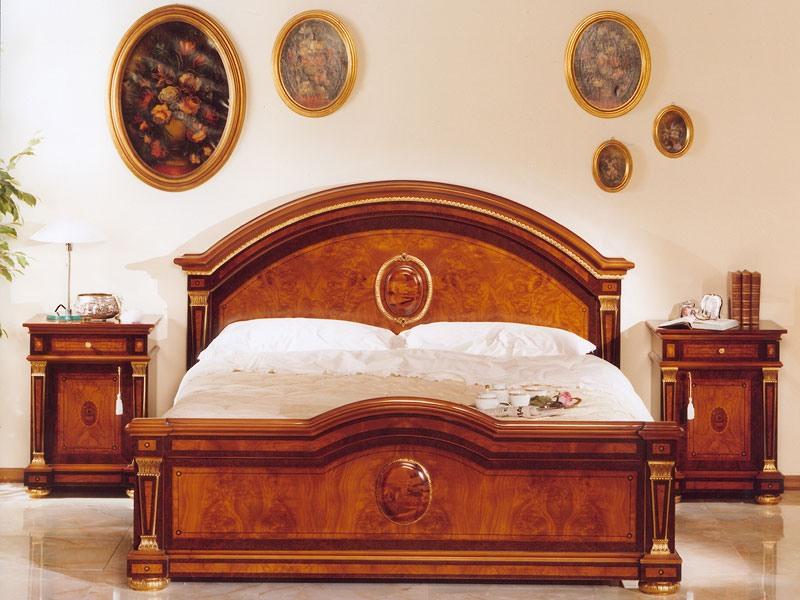 IMPERO / Lit double, Luxe classique de lit en bois, pour les châteaux