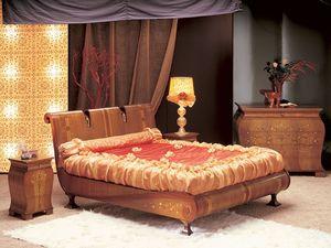 LE02 Le Volute, Lit en bois courbé, décoré à la main, pour les chambres de luxe