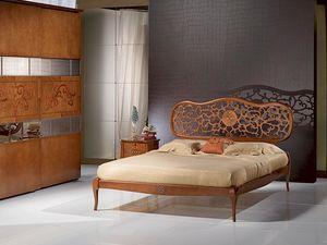 LE07 Novecento lit, Lit en bois massif, incrusté, style classique