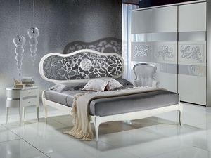 LE09 laqué Novecento lit, Chambres peint en blanc, avec la tête perforée, classique
