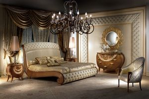 LE19 Vanity lit, Lit en bois massif, des décorations de feuilles d'or, matelassé
