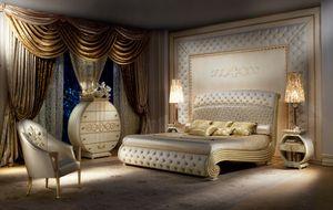 LE20 Vanity lit, Lit laqué luxueux, tête de lit matelassé et pied