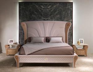 LE28 Charme lit, Lit luxueux avec décorations en bois incrusté