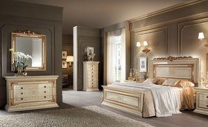 Leonardo chambre 1, Chambres classiques des meubles, de l'ivoire avec des finitions de couleur d'or