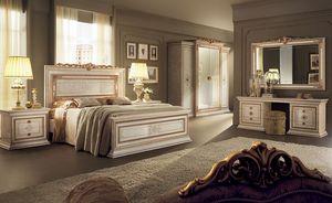 Leonardo chambre 2, Mobilier classique pour les chambres, avec lit double, armoire 4 portes, coiffeuse et tiroirs de chevet 2