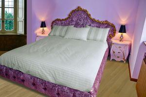 Lit Grace B, Lit avec tête de lit, pied de lit et tête de lit en velours matelassé