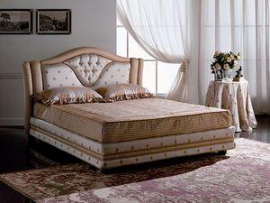 Mantegna, Lit double matelassé, tête de lit avec cadre