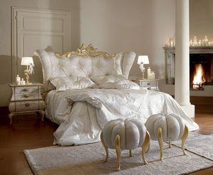 Matilde lit, Lit luxueux et élégant avec détails en or blanchi