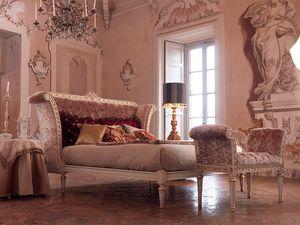 Monnet lit, Lit double classique en bois peint en blanc