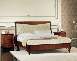 Narciso lit matelassé, Lit en noyer avec tête de lit rembourrée, fabriqués à la main