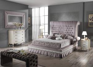 QUEEN lit, Lit double avec tête de lit rembourrée