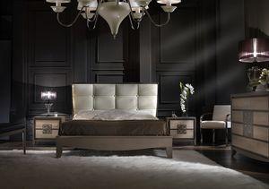 ST 704, Lit avec tête de lit en faux cuir, style contemporain classique