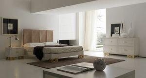 Allegra Pied sculpté, Chambre avec lit avec tête rembourrée