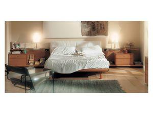 Bedroom 93, Lit avec tête de lit capitonnée, structure en bois en finition cerisier, étagères coulissantes